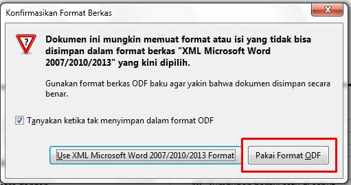 cara menyimpan file format docx xml ke odf