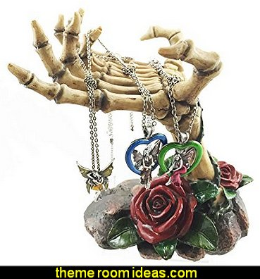 Gothic Valentine Rose Skeletal Hands Skeleton Grasp of The Dead Jewelry Holder Figurine