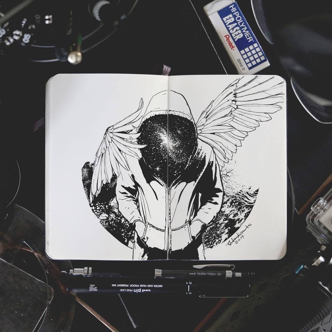 11-Universe-Joseph-Catimbang-Black-and-white-Ink-Graphic-Design-Art-www-designstack-co