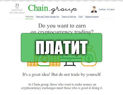 Скриншоты выплат с хайпа chain.group