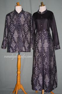 Gamis Kombinasi Batik Dan Polos