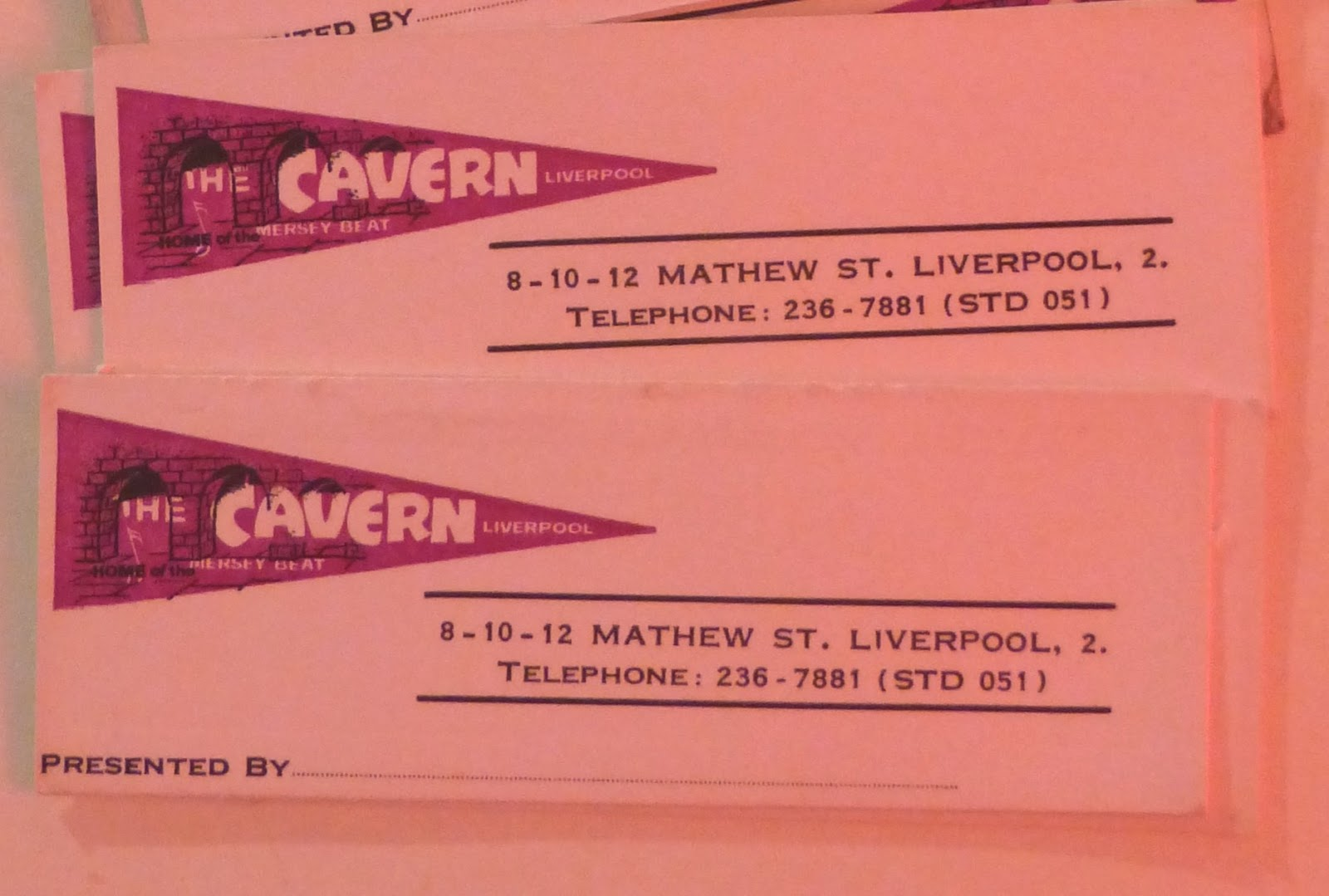 Liverpool beatles auction 2016 these three different types of cavern club business cards date from the latter half of the 60s when the club was under the ownership of alf geoghegan reheart Images