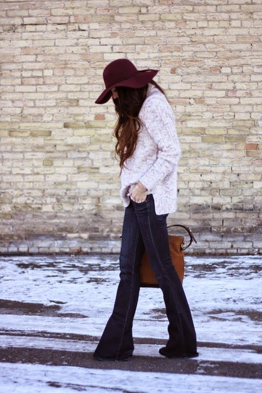 Wearing a Flare Jeans, Sweater with Burgundy Hat