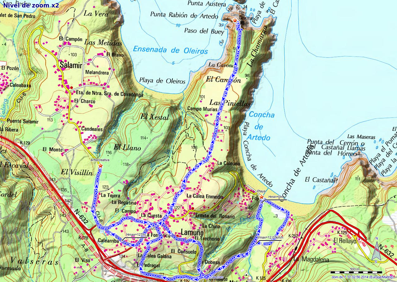 Mapa de la ruta de la Concha de Artedo, Lamuño y Área de Valsera