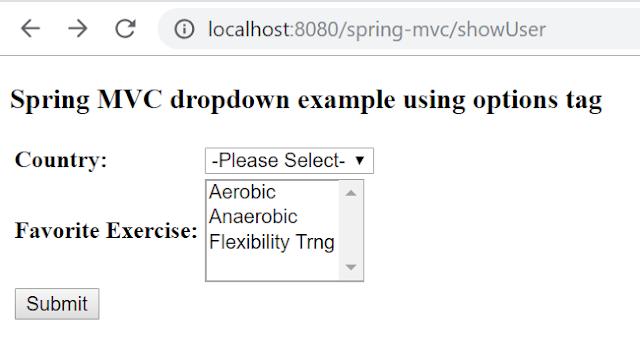 Spring MVC dropdown using options tag