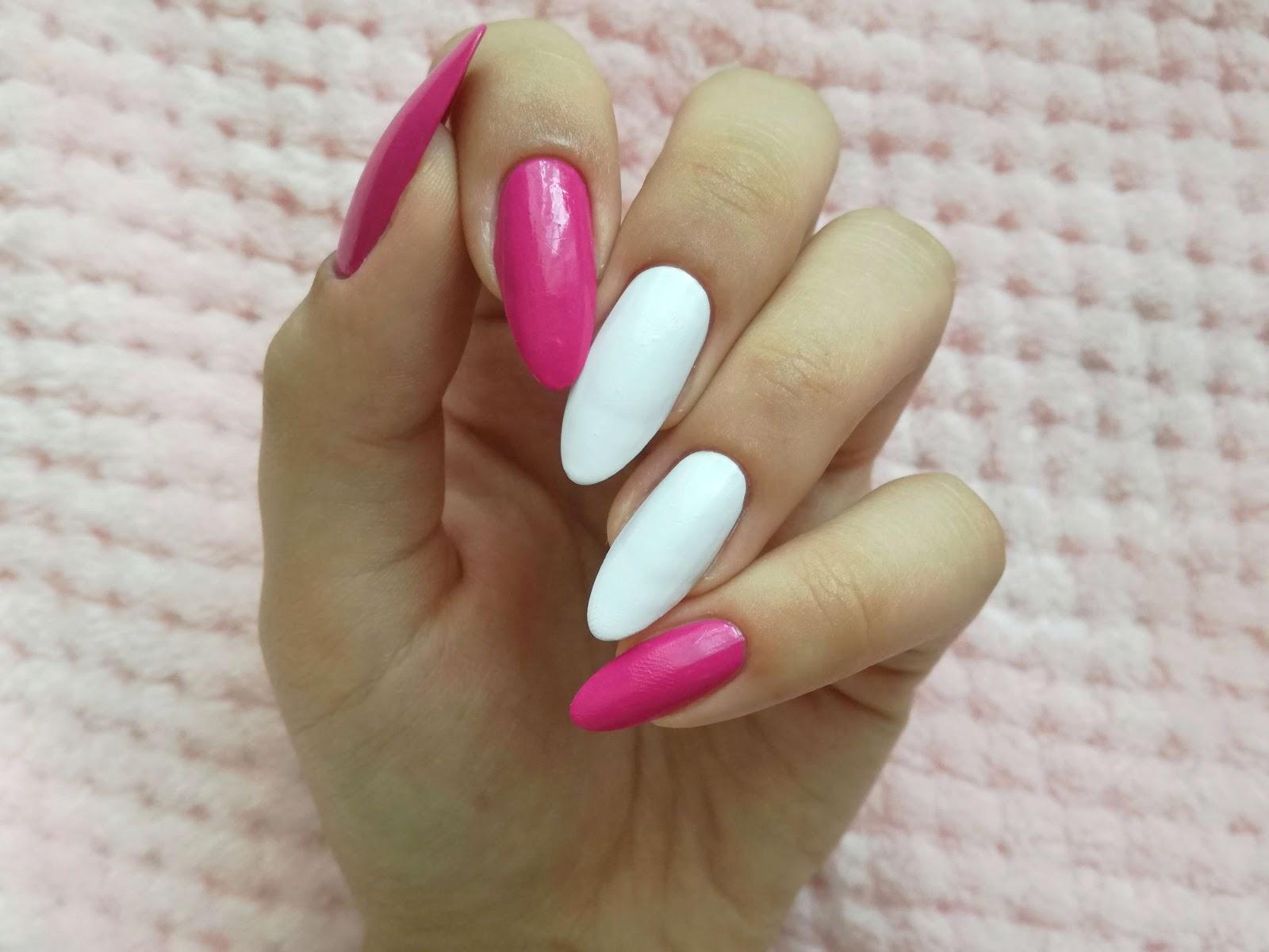 paznokcie różowe i białe