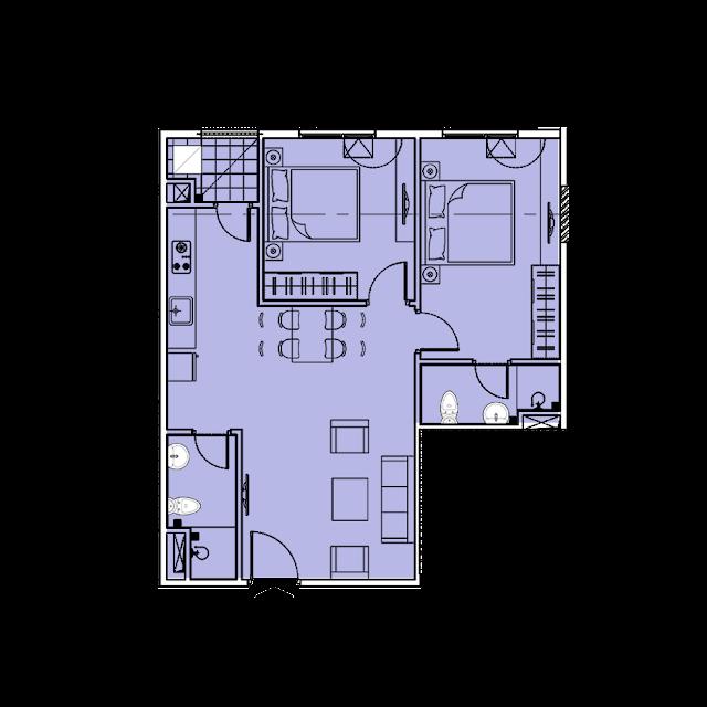 Thiết kế căn hộ A1 tòa Park1,2 chung cư EuroWindow River Park