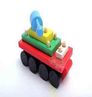 Mainan Kayu Edukatif Balok Tank