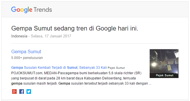 Google Trends - Gempa Sumut