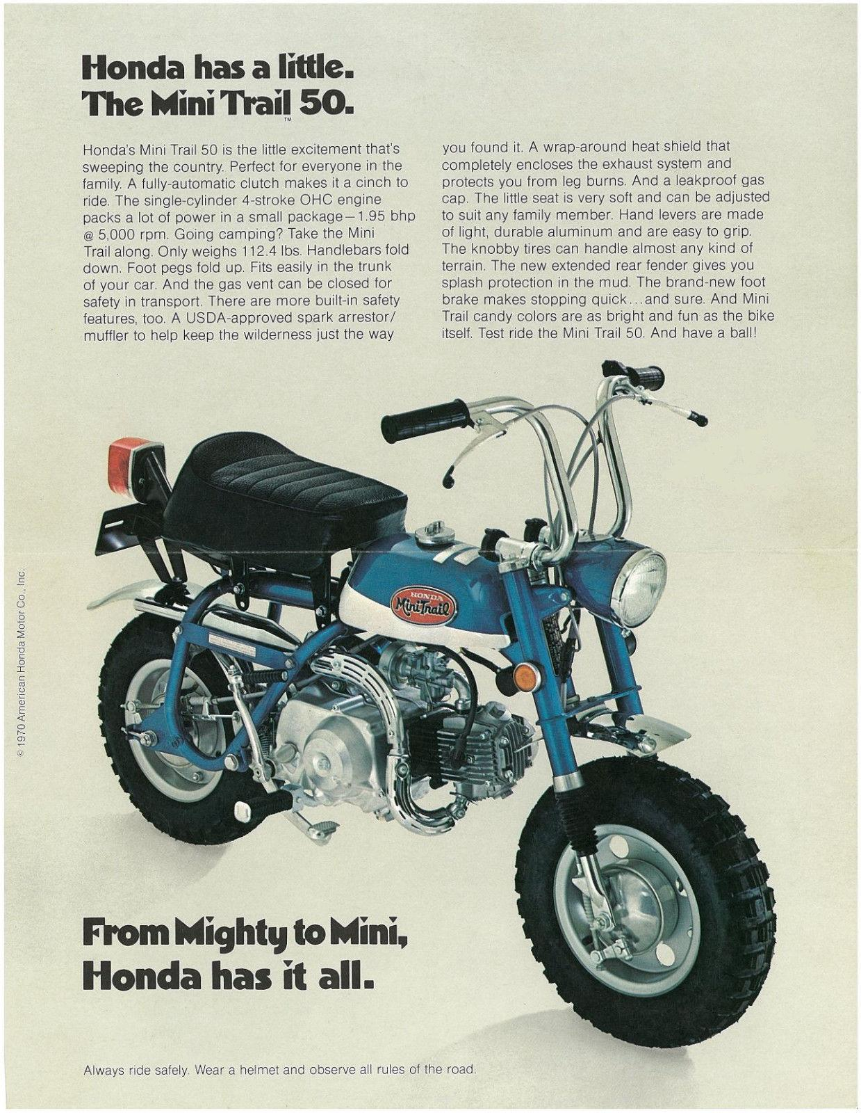 """Followed by the last two years of the hard-tail model """"Honda Mini-Trail  Z50-K2"""" series (1970-71) From Mighty To Mini, Honda Has It All - Honda Has  A Little."""