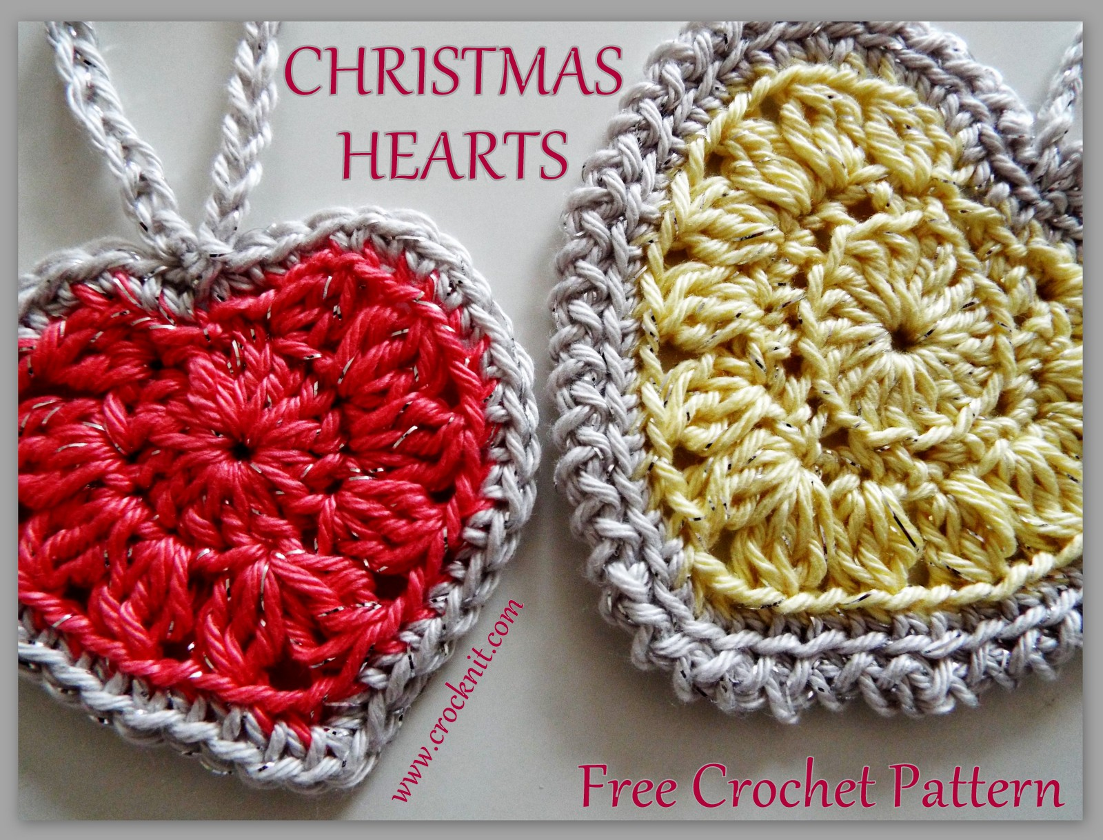 MICROCKNIT CREATIONS: Christmas Hearts Free Crochet Pattern