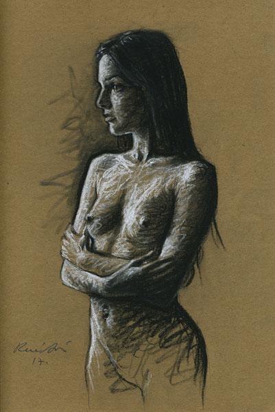 Rene Bui - Femme aux Bras Croisés, étude de nu au crayon Conté