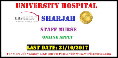 Staff Nurse at University Hospital Sharjah