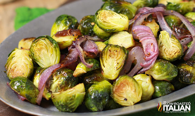 crispy brussel sprouts on a serving tray