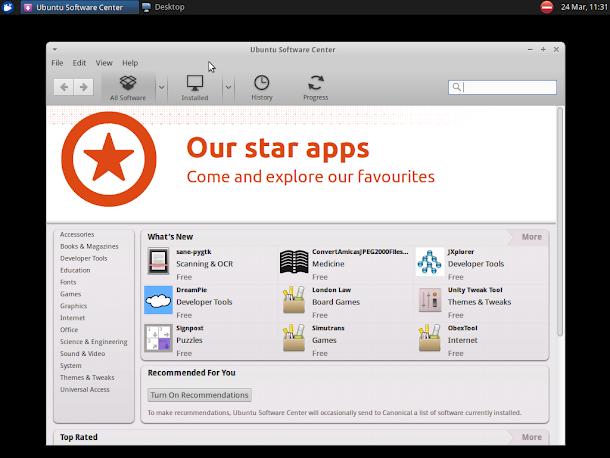 ソフトウェア管理ツールのUbuntuソフトウェアセンターを起動。UbuntuBSD,Xfceデスクトップ。