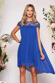 Rochie PrettyGirl albastra eleganta scurta asimetrica