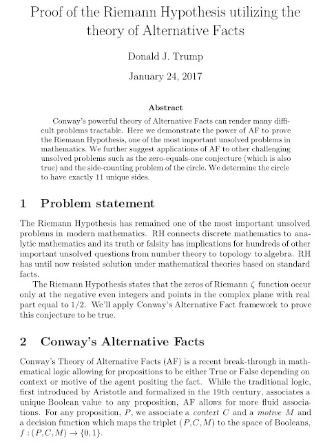 Alternative Facts and the Riemann Hypothesis