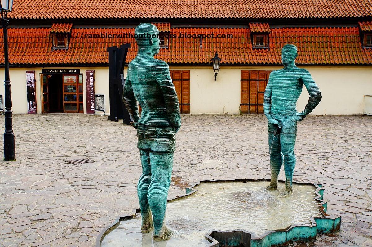Sculpture outside Kafka Museum, Prague