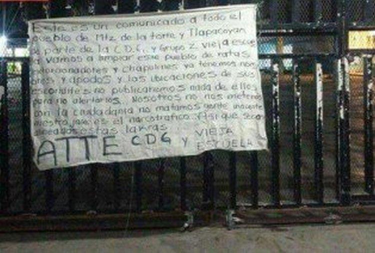 COLOCAN  NARCOMANTAS EN VERACRUZ FIRMADAS POR CDG Y VIEJA ESCUELA
