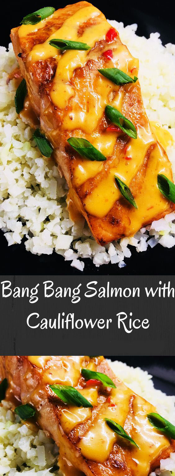 Bang Bang Salmon With Cauliflower Rice