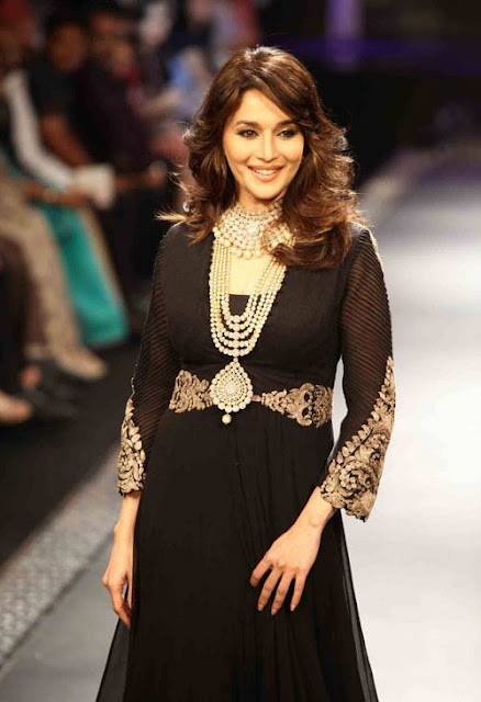Madhuri Dixit In Designer Black Anarkali Suit Walk At IIJW