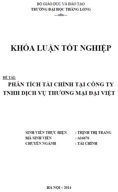 Phân tích tài chính tại Công ty TNHH Dịch vụ Thương mại Đại Việt