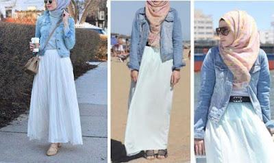 Pakai Jaket Denim Untuk Hijaber  001