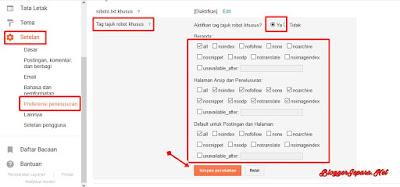 Cara Setting Tag Tajuk Robot di Blogspot