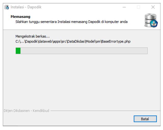 proses instalasi aplikasi dapodik