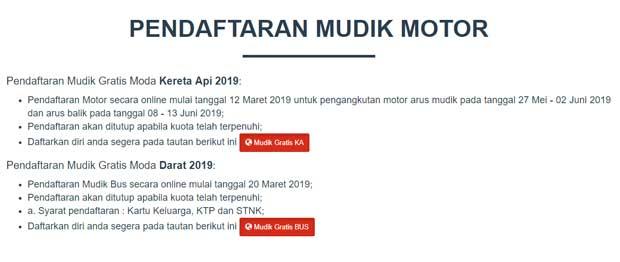 pendaftaran angkutan motor gratis mudik lebaran 2019