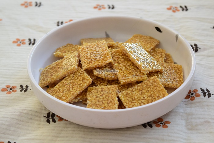 Til Chikki using Sugar - Til Patti Recipe - Magic of Indian Rasoi -Priya R