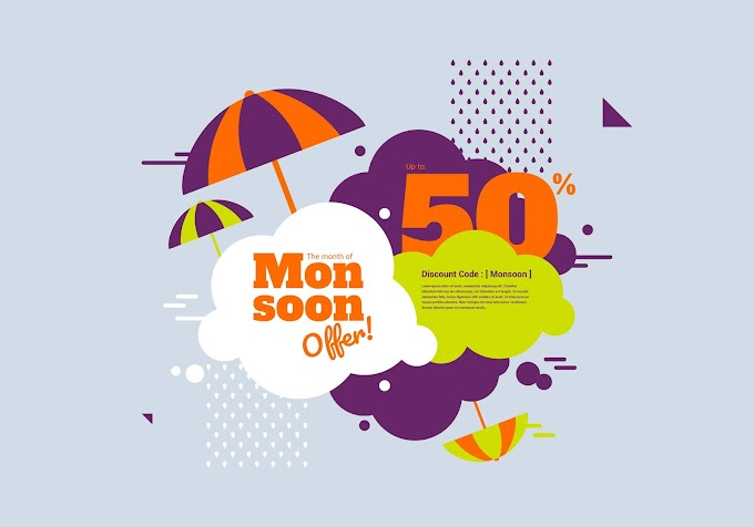 Monsoon Discount Free Vector Banner