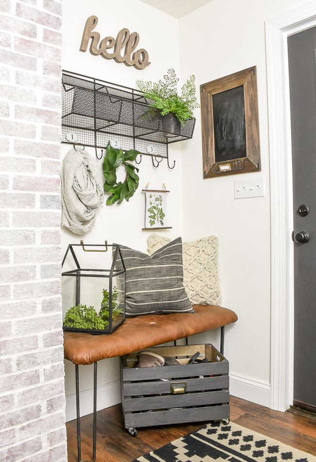 Spring mudroom with DIY botanical print wall hanging