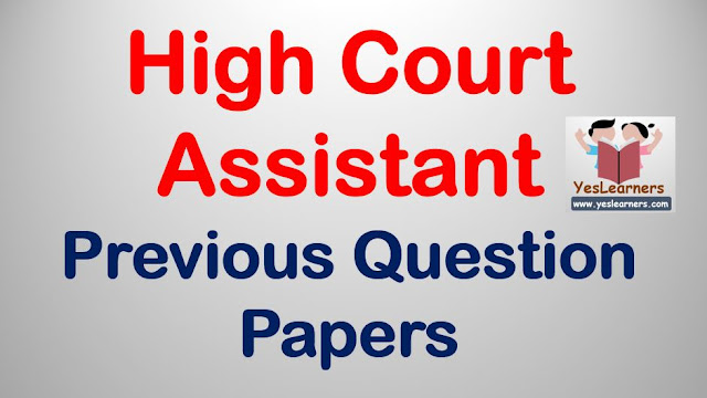 High Court Assistant Previous Question Papers