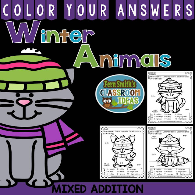 Fern Smith's Classroom Ideas  Winter Math: Winter Fun! Winter Animals Addition Facts - Color Your Answers Printables at TeacherspayTeachers. #TpT