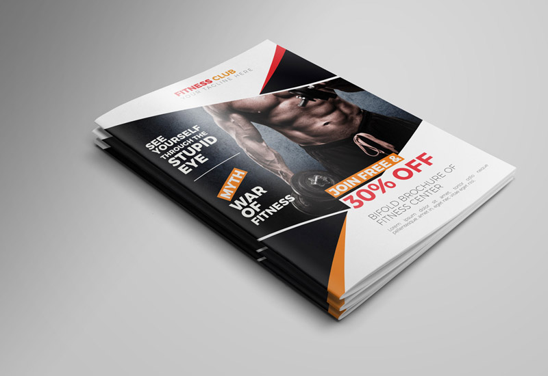 Creative Bifold Gym/Fitness Indesign Brochure Template - RONOUR ...