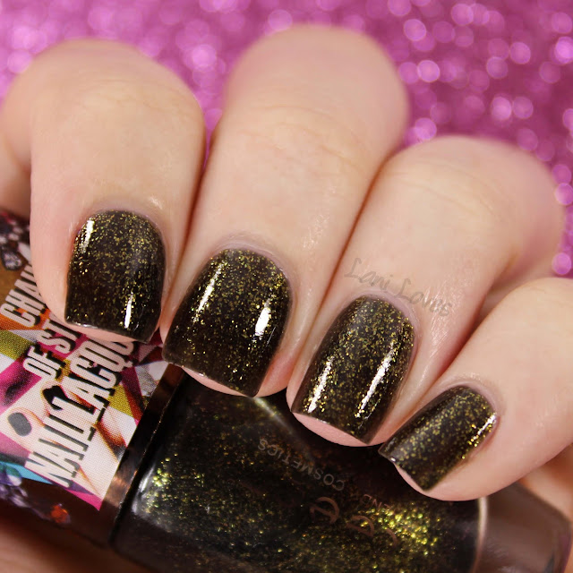 Teeez Chain of Stones Nail Lacquer - Gold Rush swatches & review