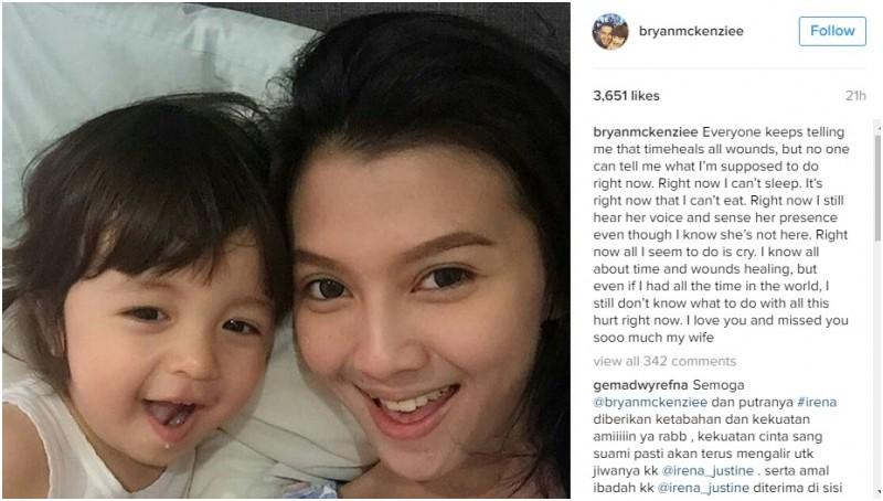 Ungkapan kesedihan Bryan McKenzie atas meninggalnya sang istri di Instagram