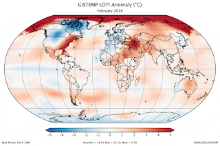 2018 February Global Temperature Anomalies (Credit: NASA GISS) Click to Enlarge.
