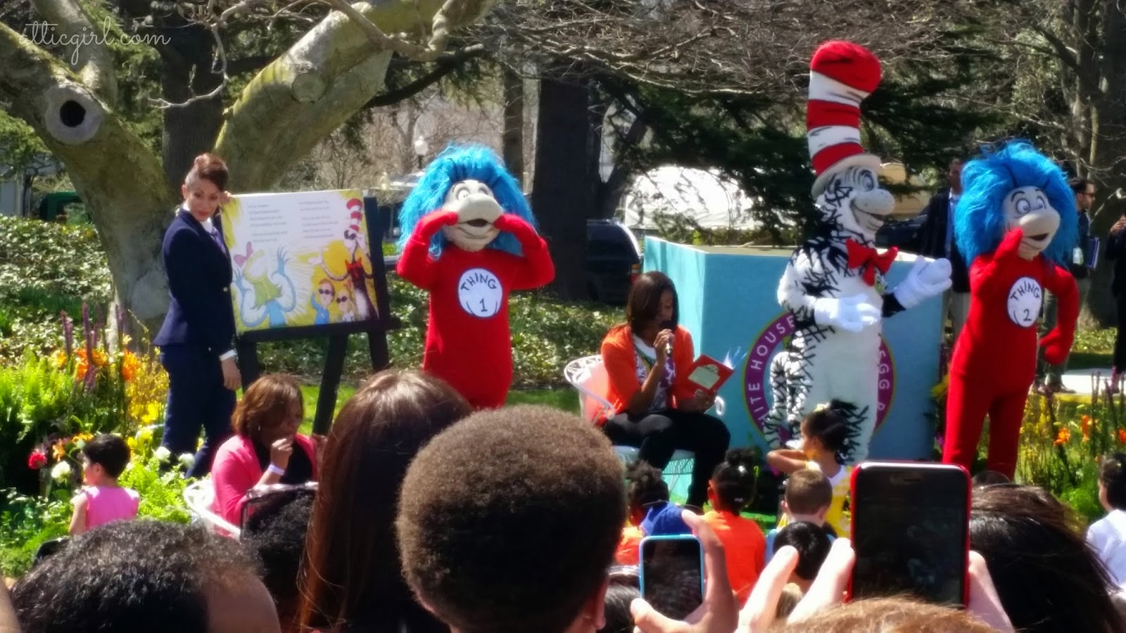 FLOTUS, The Cat & The Hat, Genevieve Goings, Thing 1 and Thing 2, Dr. Seuss, 2015 White House Easter Egg Roll