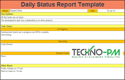 daily status report template excel and word template project