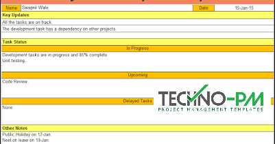 Daily Status Report Template Excel And Word Template Project Management Templates