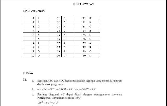 Kunci Jawaban Soal Latihan UKK/PAT Matematika SMP / Mts Kelas 8 Semester 2 Kurikulum 2013