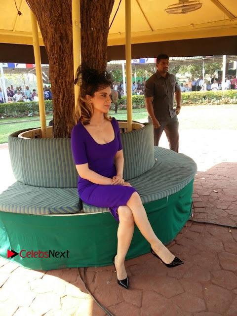 Bollywood Actress Kangana Ranaut Stills in Purple Short Dress at the Derby  0002.jpg