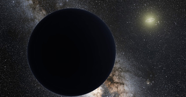 An artist's illustration of a possible ninth planet in our solar system, hovering at the edge of our solar system. Neptune's orbit is shown as a bright ring around the Sun. Credit: ESO/Tom Ruen/nagualdesign