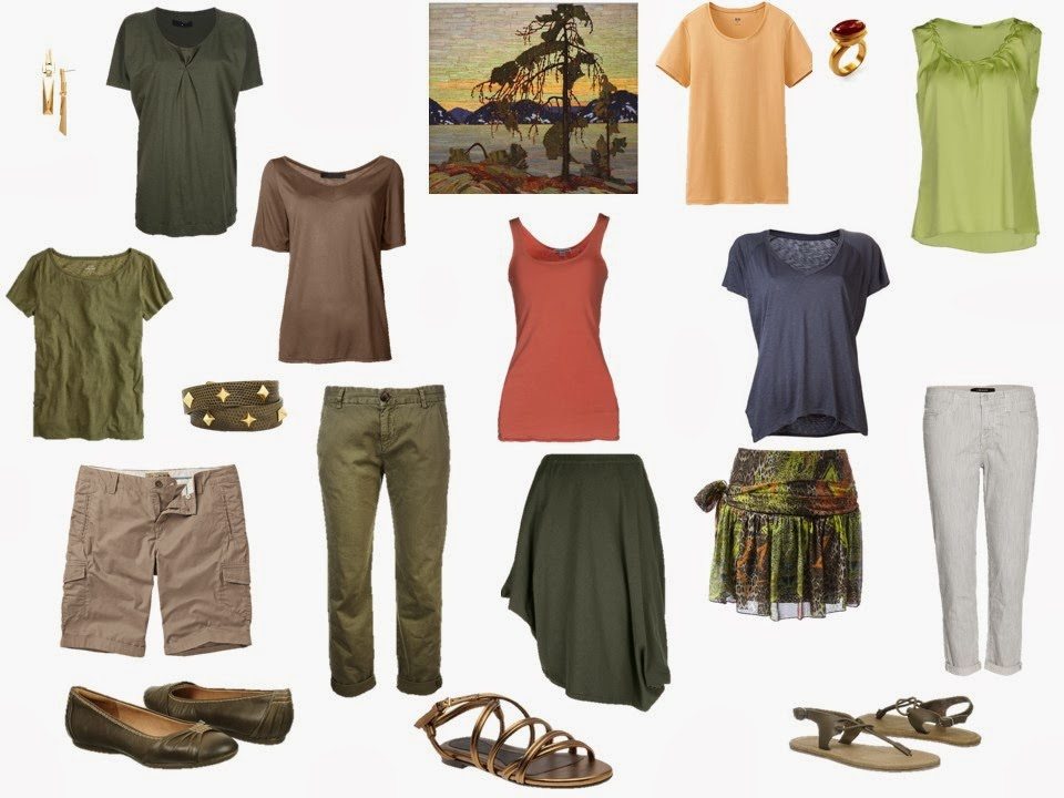 travel capsule wardrobe for warm weather based on Jackpine by Tom Thompson
