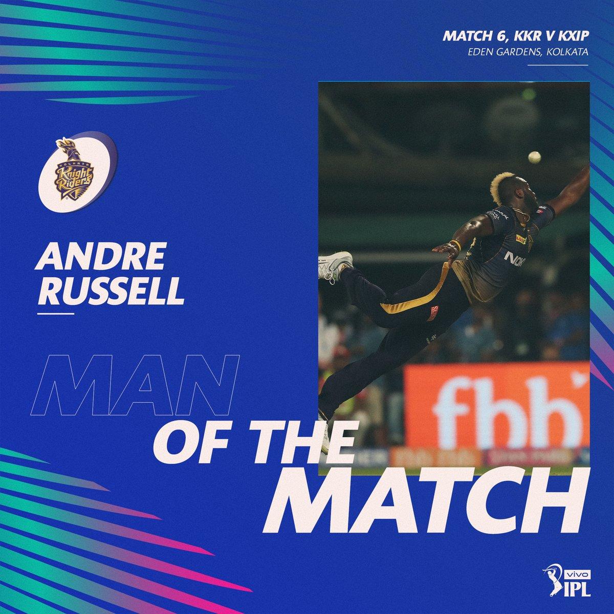 KKR vs KXIP: KKR won by 28 runs, Andre Russell's performance
