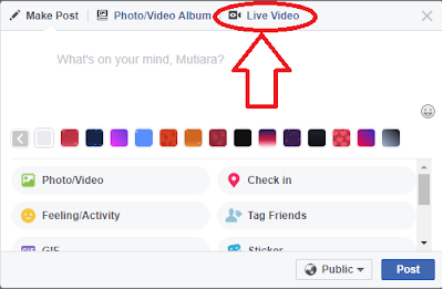 Cara live di account Facebook PC