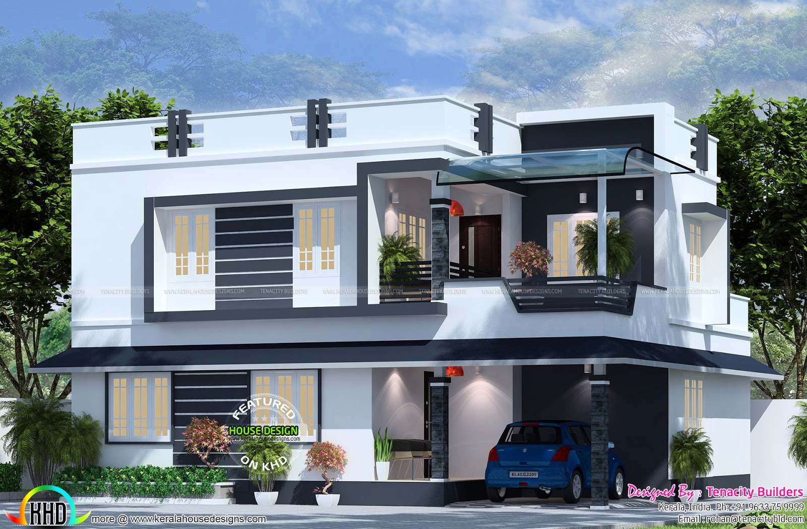 2175 sq ft flat roof house plan kerala home design and for Flat roof elevation