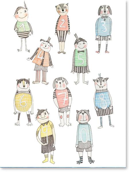 Zahlenkarten Zahlenschule Zahlenfiguren für die Grundschule